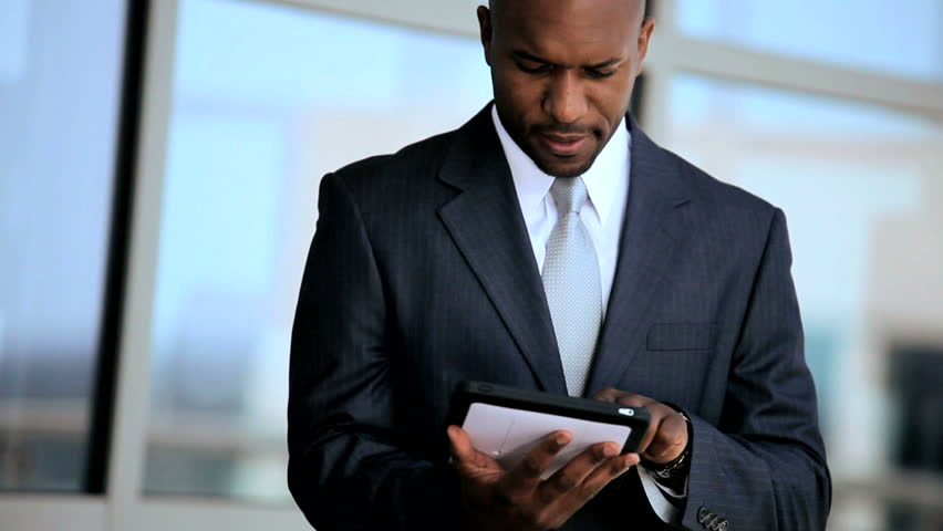 business executive using a tablet