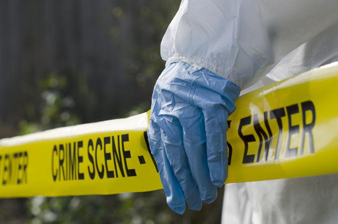 Crime Scene Tape Biohazard Glove